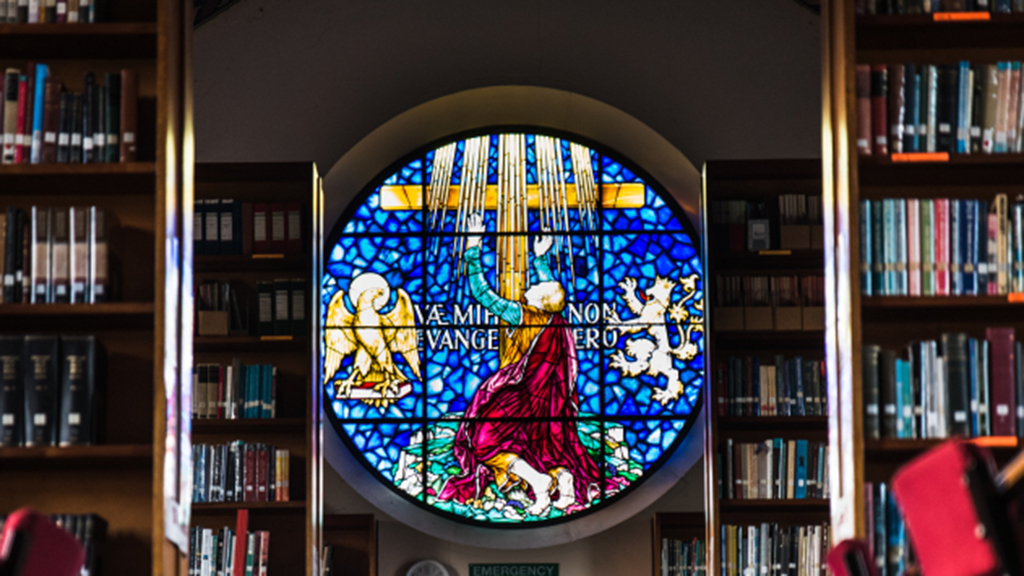 Photo of stained glass window in the library of the London School of Theology