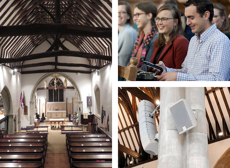 Photos illustrating technology in church