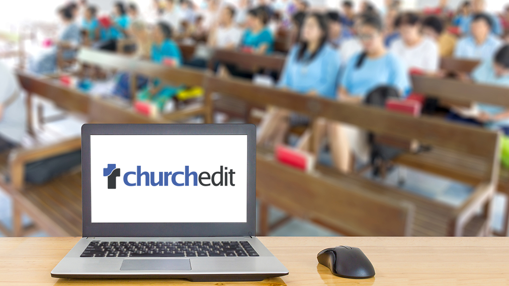 Photo of laptop and church congregation