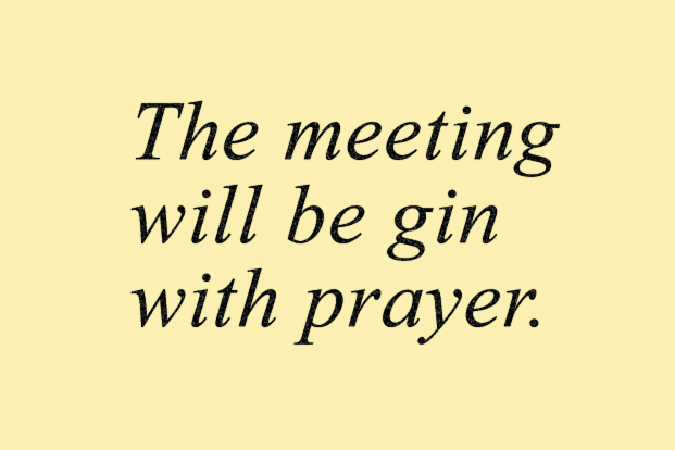 Our service will be gin with prayer