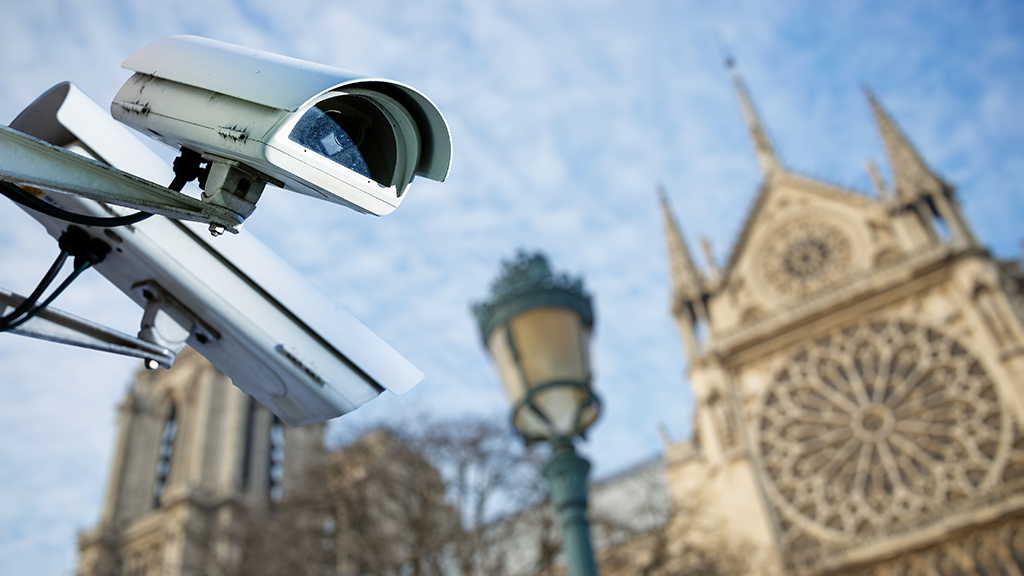 Photo of CCTV cameras outside a church