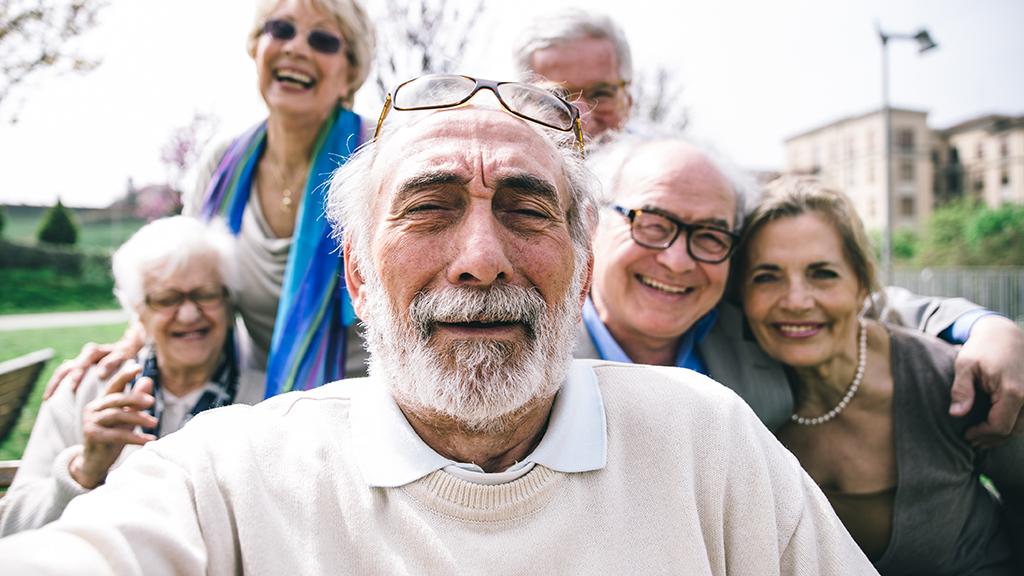 older people take a selfie