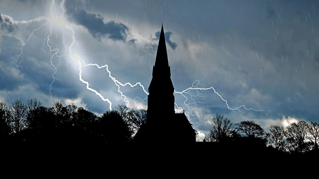 Photo of church and lightning