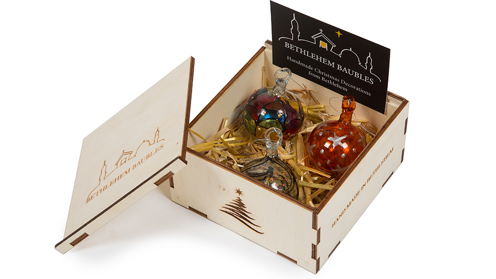 Photo of a box of Bethlehem Baubles