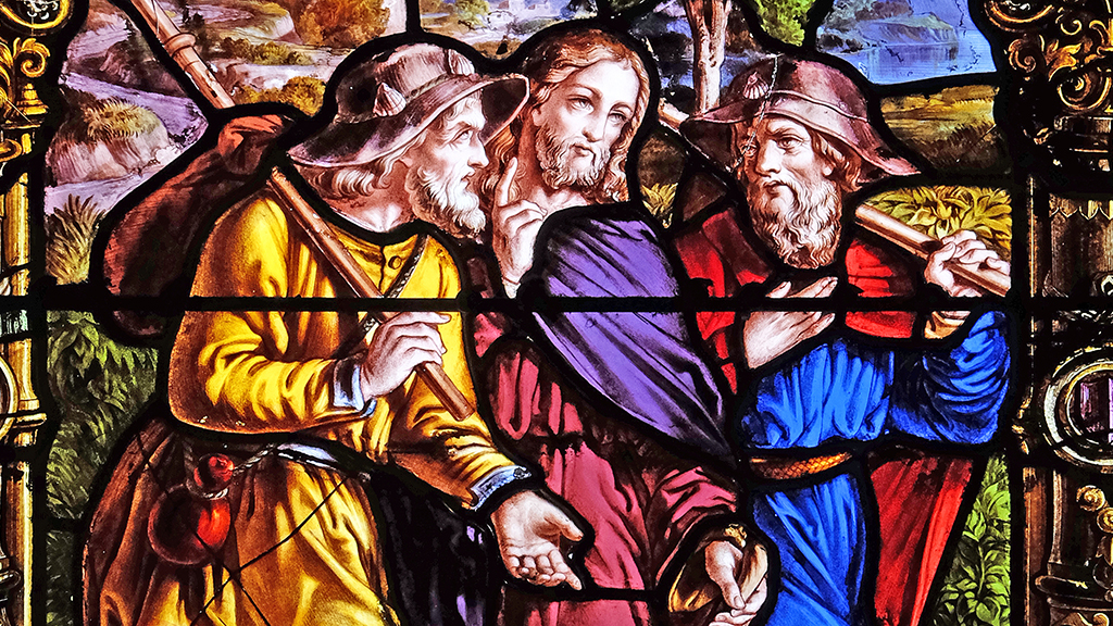 Photo of Jesus and the disciples in stained glass