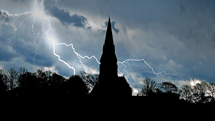 Photo of church plus lightning
