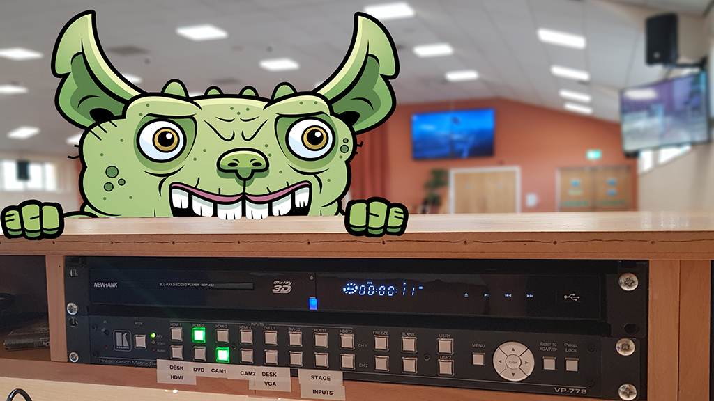 Photo of sound desk and gremlin
