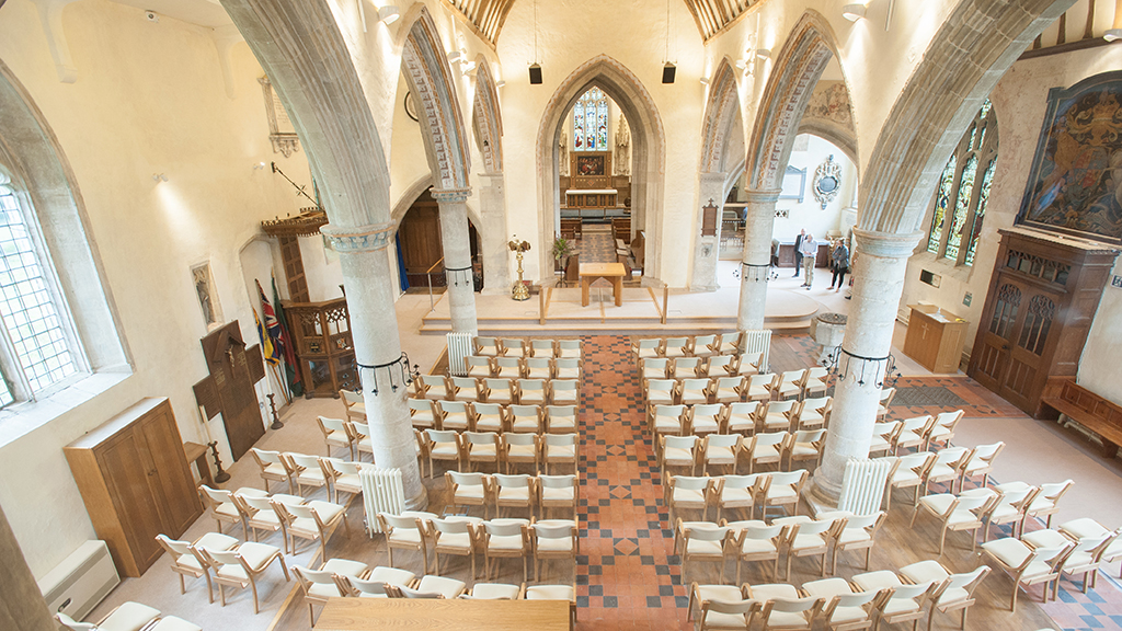 Aerial view of St Mary's Purton interior