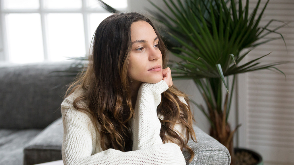 woman looking thoughtful